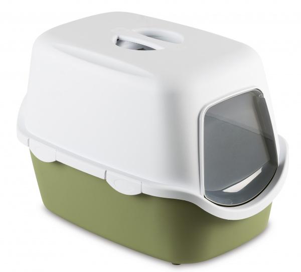 Toaleta pro kočky Cathy, pastelově zelená - kočičí WC s klapkou