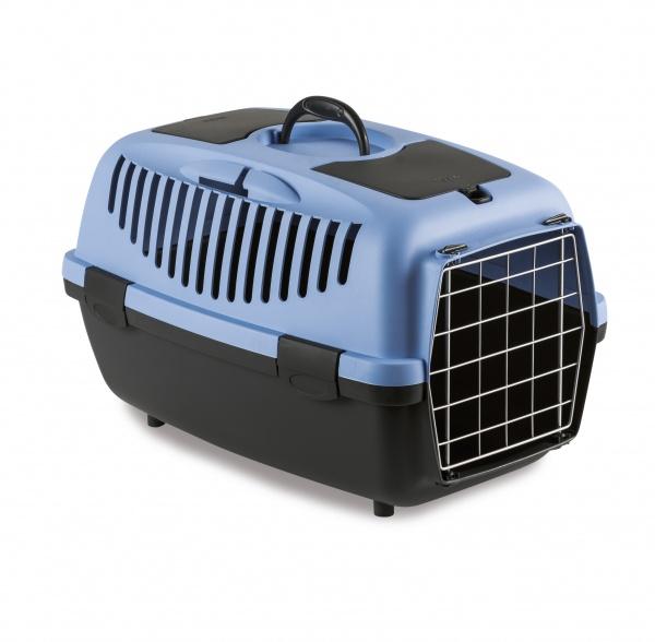 STEFAN PLAST Přepravka pro psy a kočky Gulliver 2, pastelově modrá, 55x36x35cm, kovová dvířka