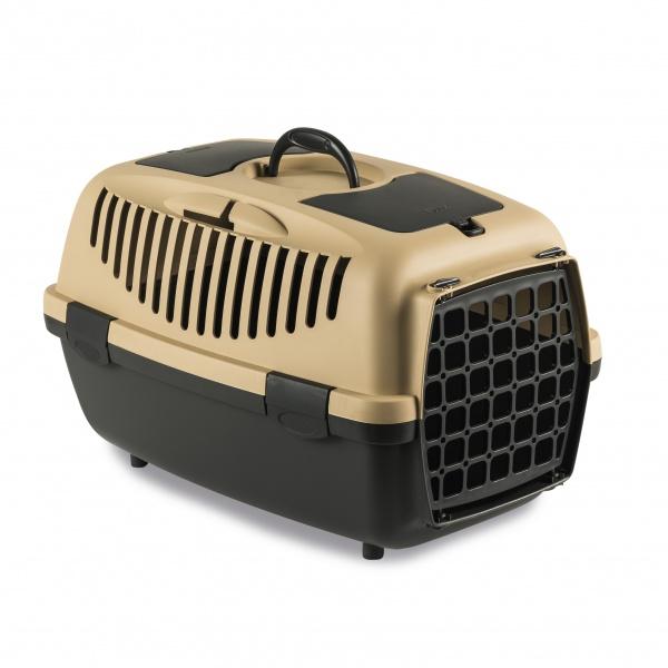 STEFAN PLAST Přepravka pro psy, kočky Gulliver 3, 61x40x38cm, plast.dvířka, písk.hnědá