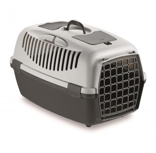 Přepravka pro psy a kočky Gulliver 2, šedá, 55x36x35cm, plastová dvířka