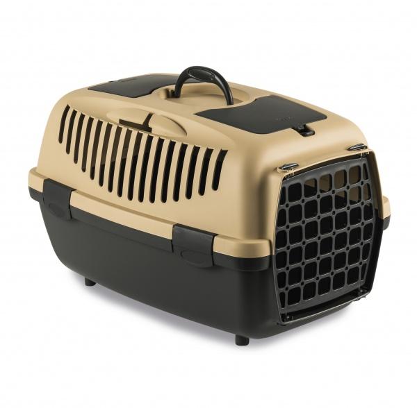 Přepravka pro psy a kočky Gulliver 2, pískově hnědá, 55x36x35cm, plastová dvířka