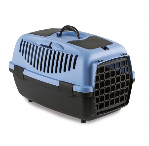 Přepravka pro psy a kočky Gulliver 2, pastelově modrá, 55x36x35cm, plastová dvířka