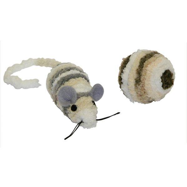 Hračka pro kočky - myš a míček, s catnipem