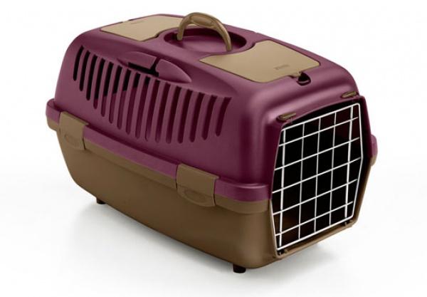 Přepravka pro psy a kočky Gulliver 2, fialová/popelavě hnědá, 55x36x35cm, kovová dvířka