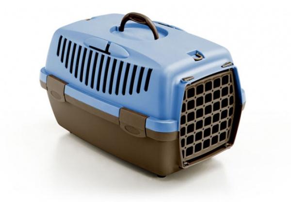Přepravka pro psy a kočky Gulliver 1, pastelově modrá/popelavě hnědá, 48x32x31cm, plastová dvířka