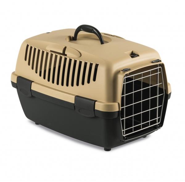 STEFAN PLAST Přepravka pro psy a kočky Gulliver 1, pískově hnědá, 48x32x31cm, kovová dvířka