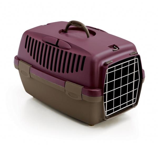 Přepravka pro psy a kočky Gulliver 1, fialová/popelavě hnědá, 48x32x31cm, kovová dvířka
