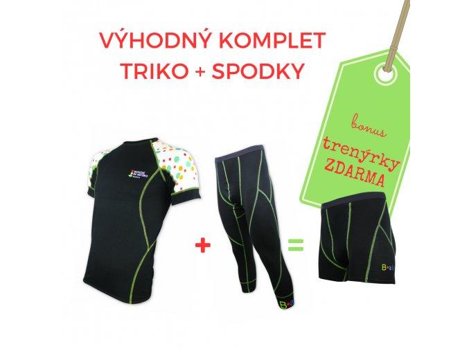 Pánský komplet triko BEZPEČNĚ NA MOTORCE kr. rukáv + 3/4  spodky = BONUS TRENKY