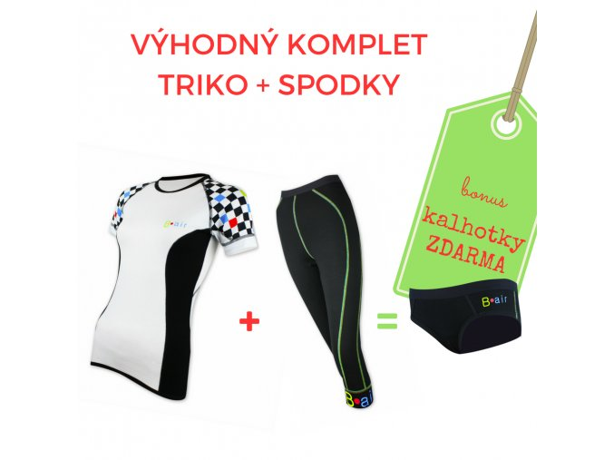 Dámský komplet triko ŠACHOVNICE kr. rukáv + 3/4 spodky = BONUS KALHOTKY