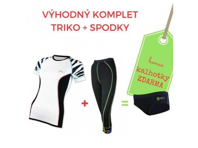 Dámský komplet triko Tygřice kr. rukáv + 3/4 spodky = BONUS KALHOTKY