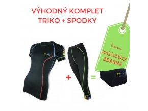 Dámský komplet triko Černé kr. rukáv + 3/4 spodky = BONUS KALHOTKY