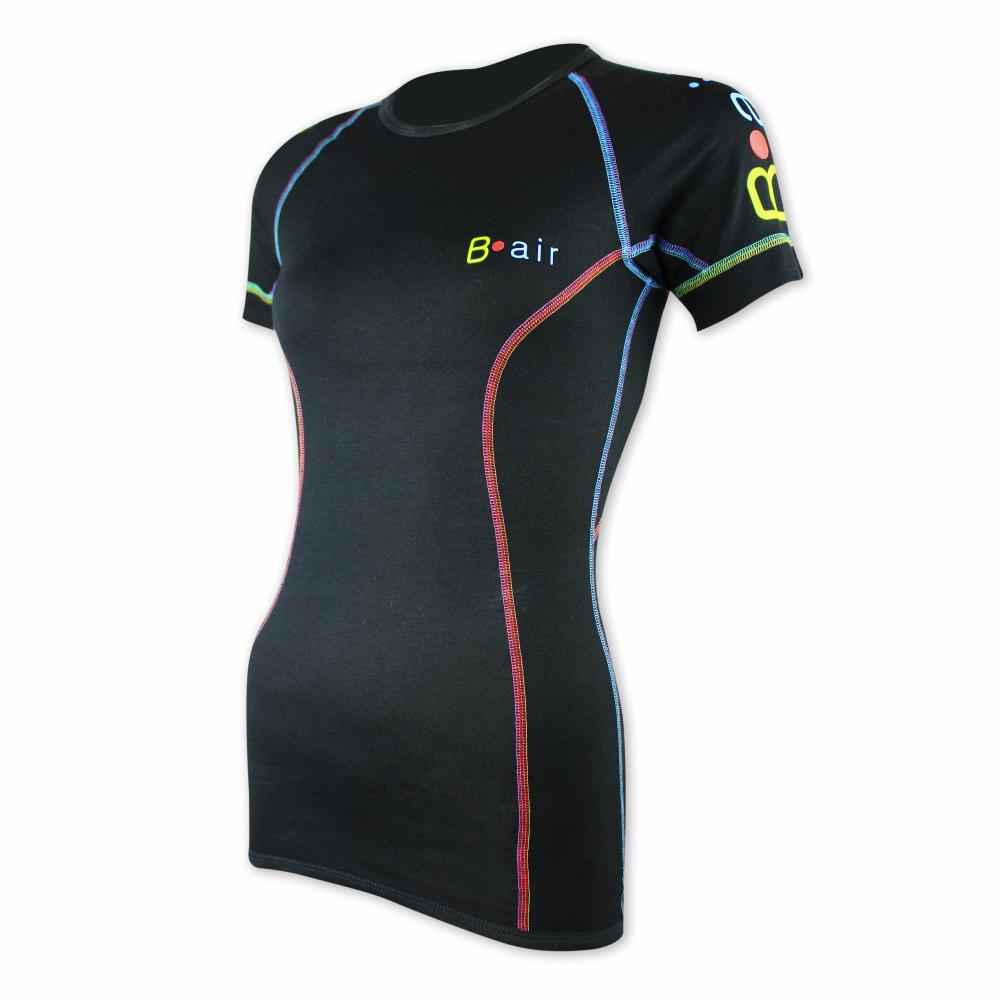 Dámské funkční triko B-air s krátkým rukávem - černé, barevné prošití Velikost: L