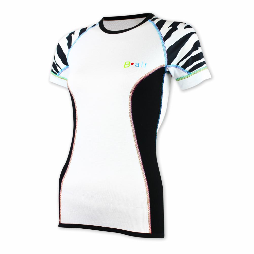 Dámské funkční triko B-air s krátkým rukávem - bílo-černé, tygřice Velikost: L