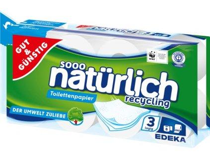 G&G Toaletní papír ze 100% recyklovaného papíru 8 x 200 listů, 3 vrstvý