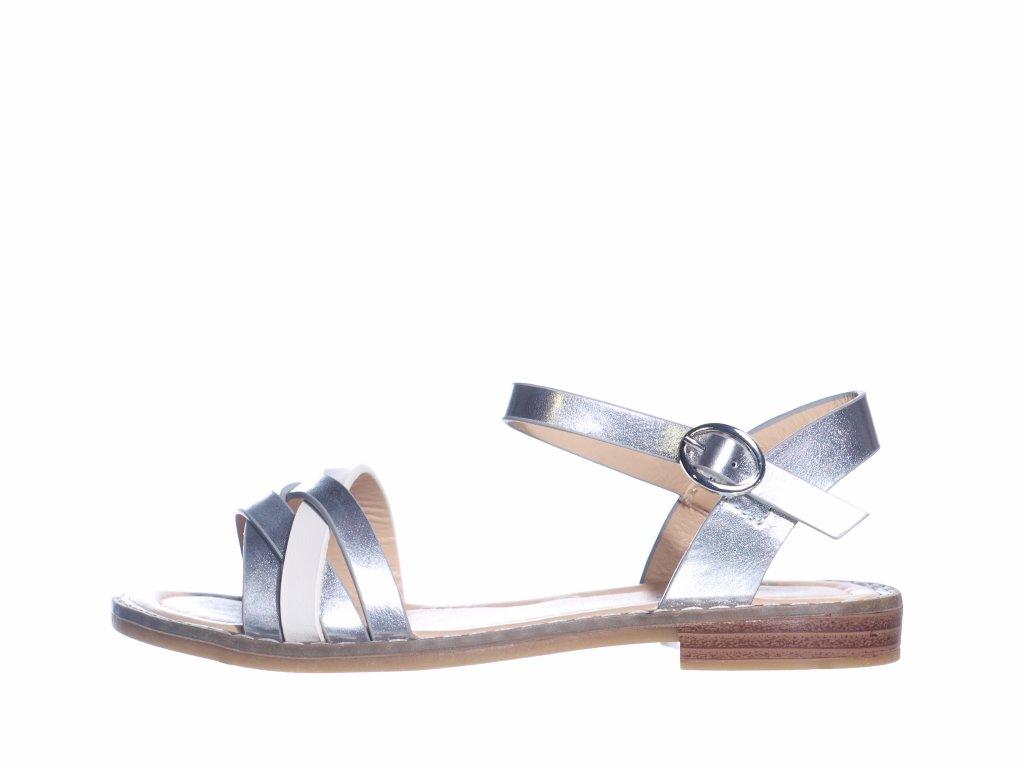Elegantní dívčí sandálky L 71/211-024 28 (Velikost 35, barva 28 stříbrná)