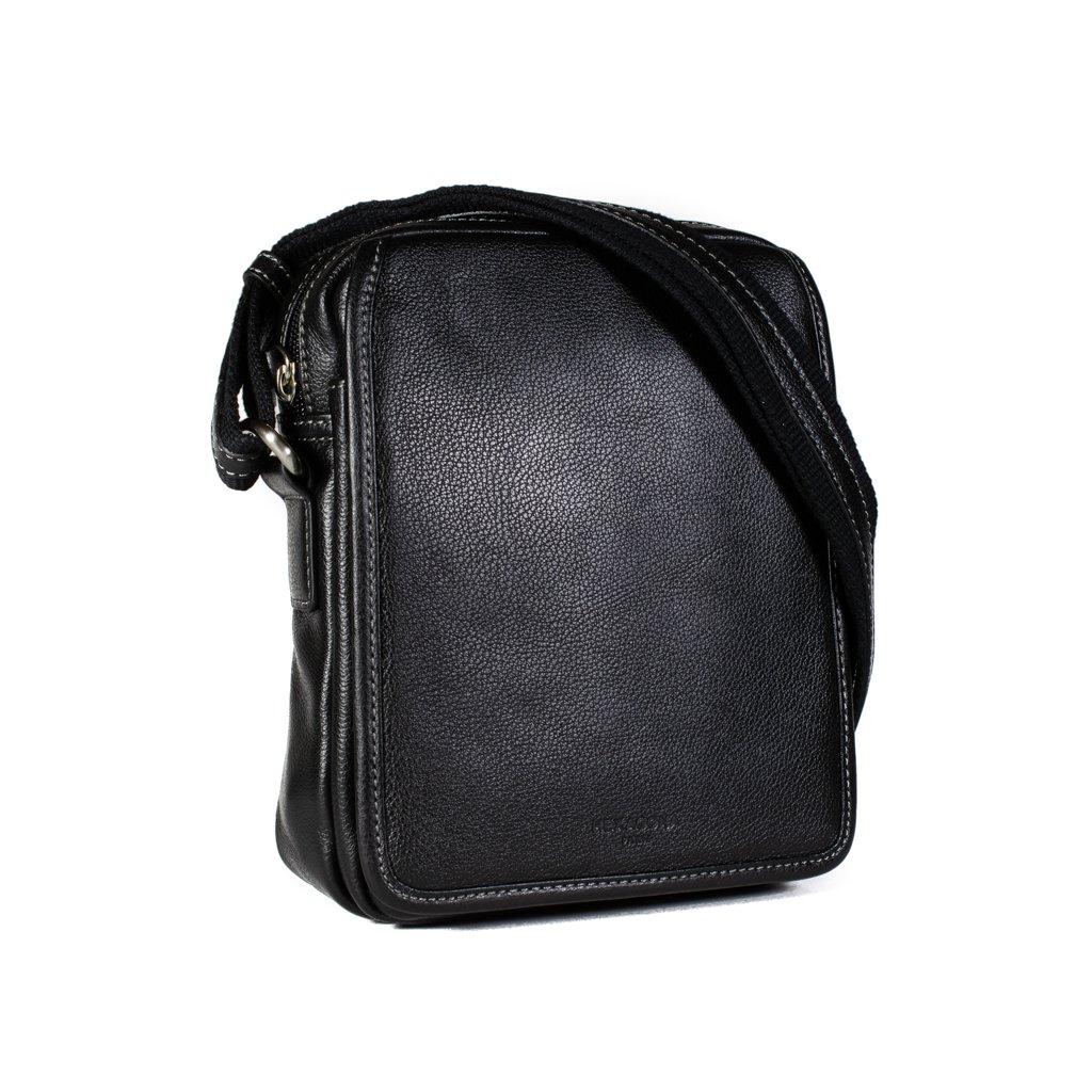 Kožená taška přes rameno Hexagona 469565 černá