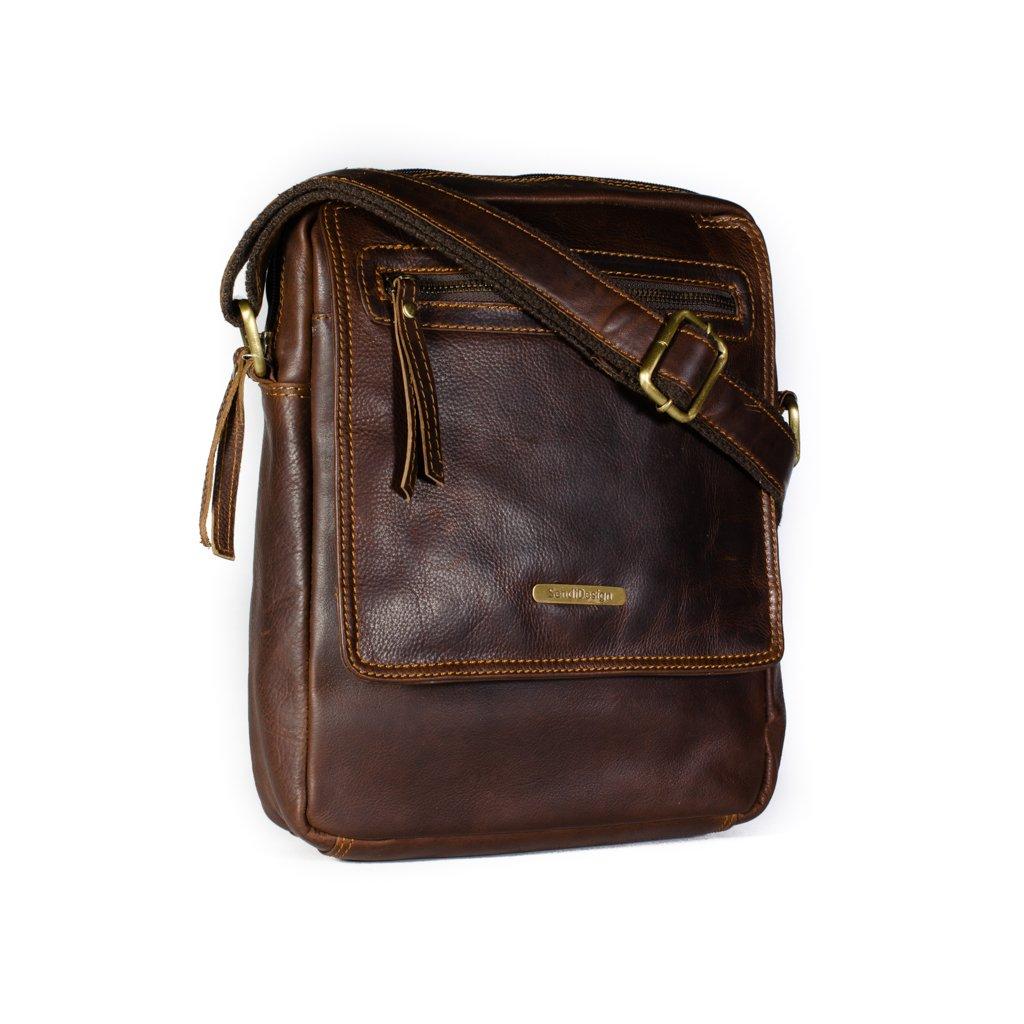 Kožená pánská taška SendiDesign MI-186 hnědá