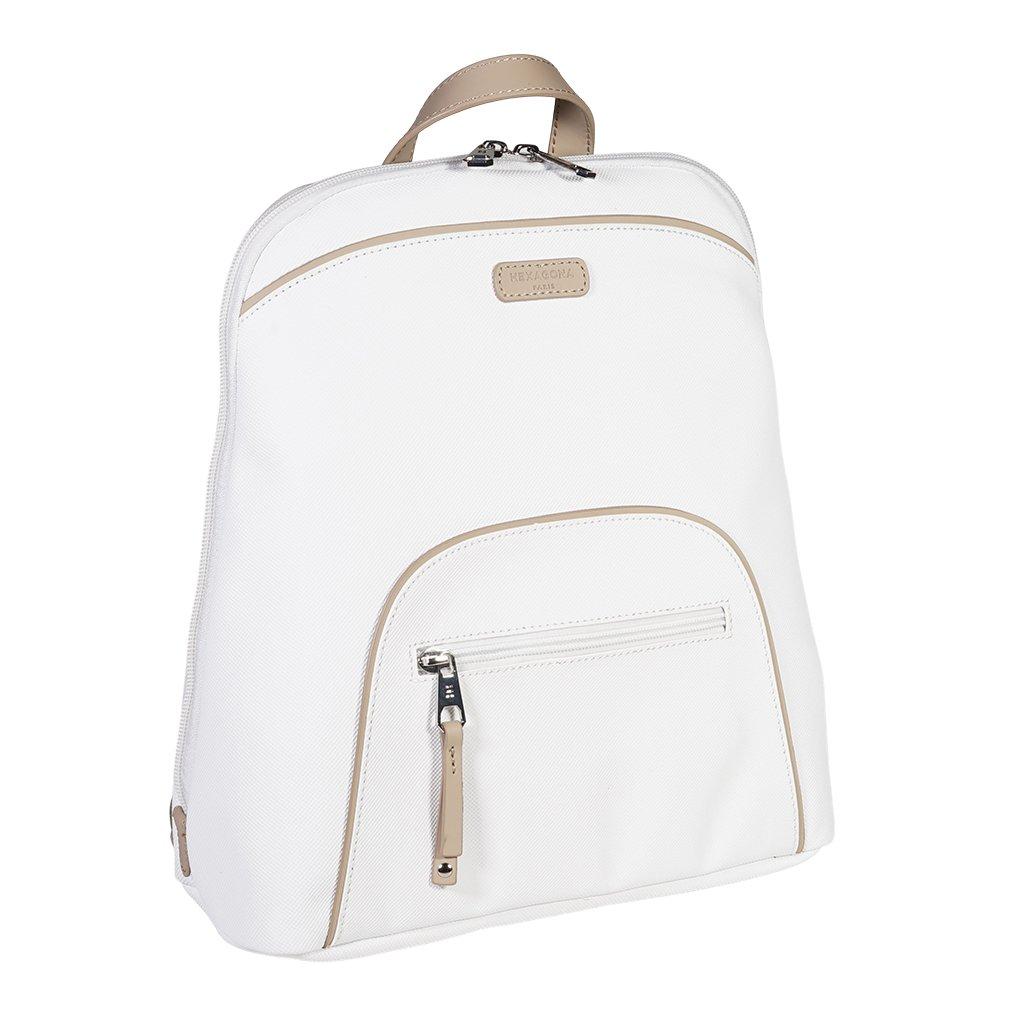 Luxusní dámský batoh do města Hexagona Jaune - bílý