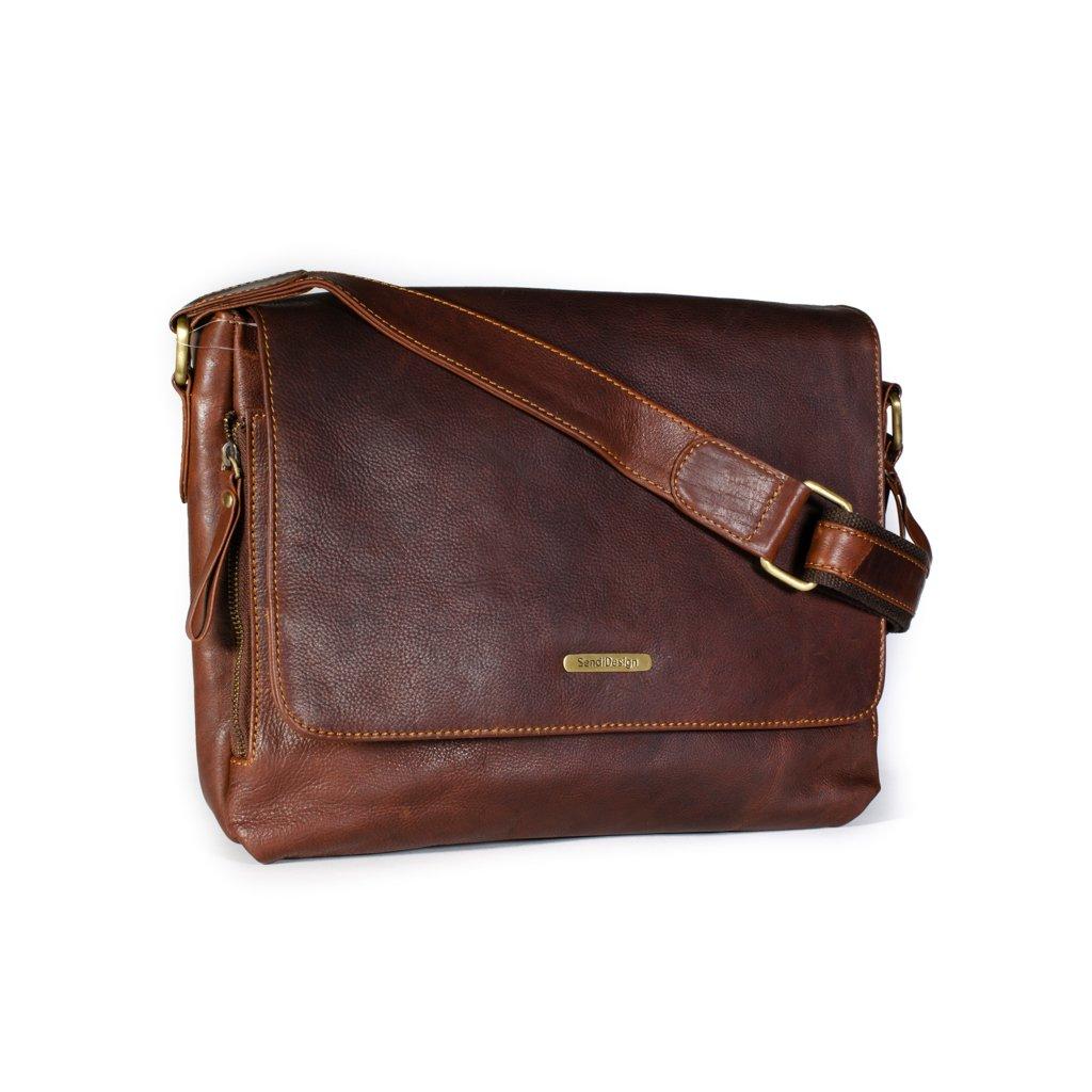 Kožená pánská taška SendiDesign SD-001 hnědá