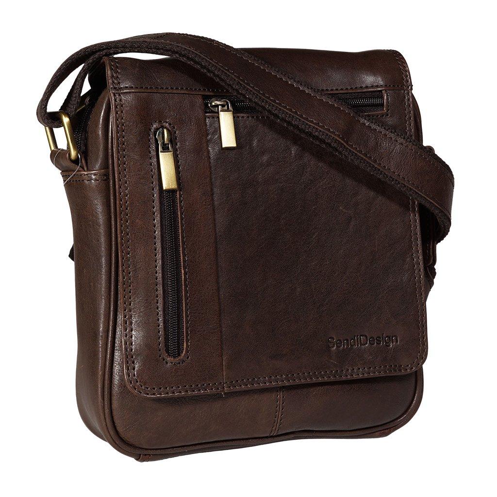 Kožená pánská taška SendiDesign M-702 hnědá