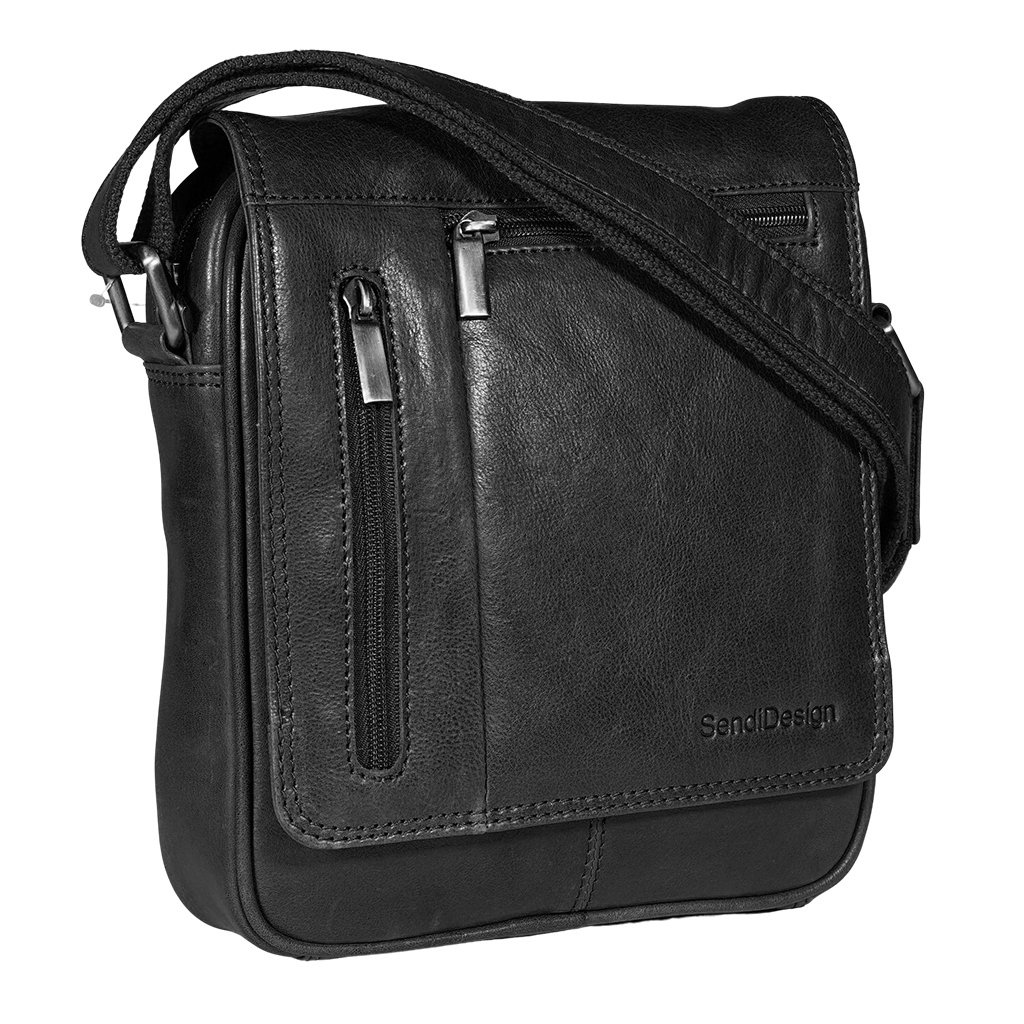 Kožená pánská taška SendiDesign M-702 černá