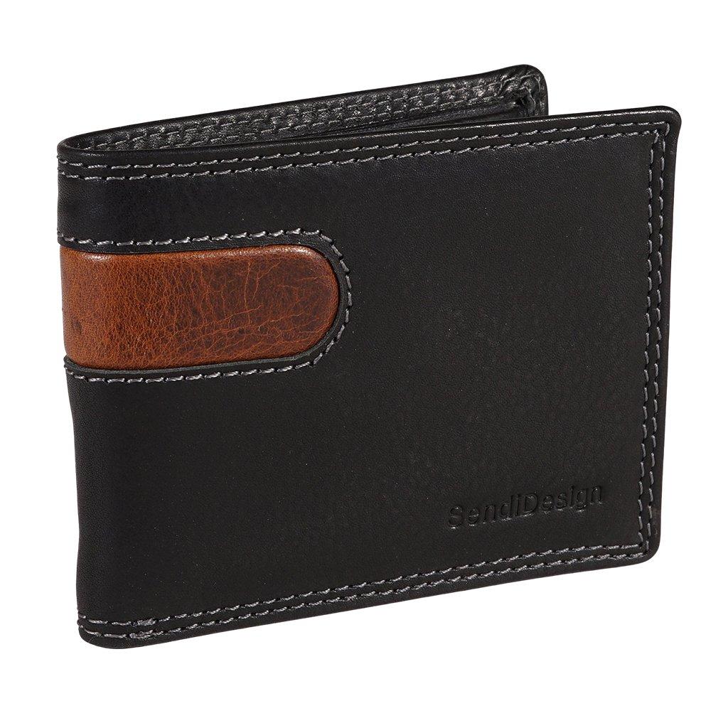 Malá pánská kožená peněženka SendiDesign B-012 černá
