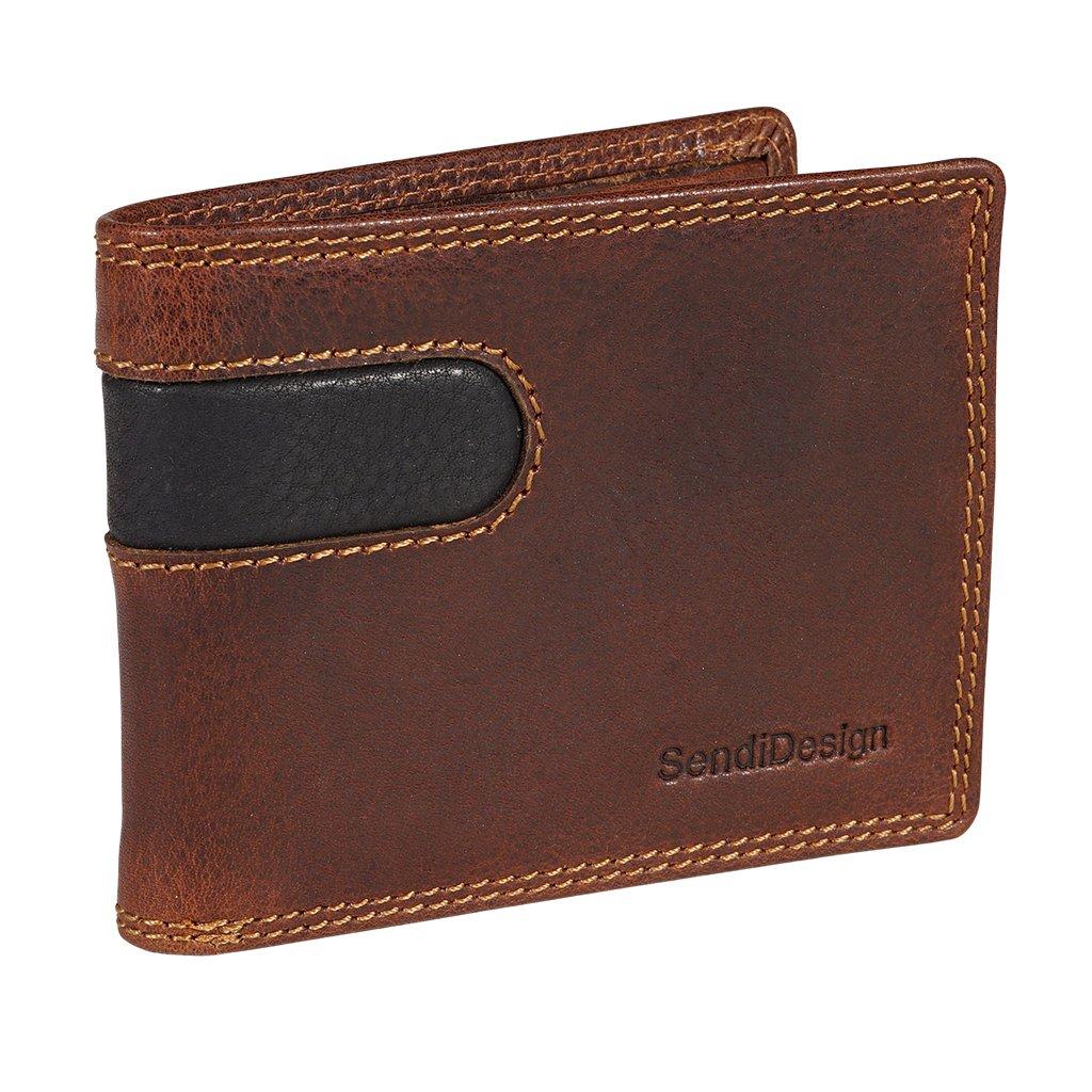 Malá pánská kožená peněženka SendiDesign B-012 hnědá