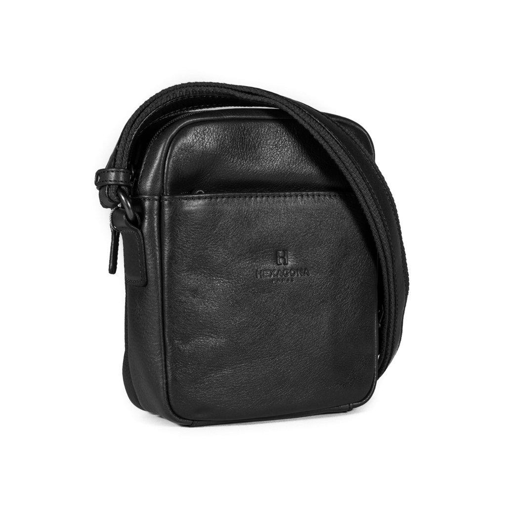 Kožená taška přes rameno Hexagona 129477 černá