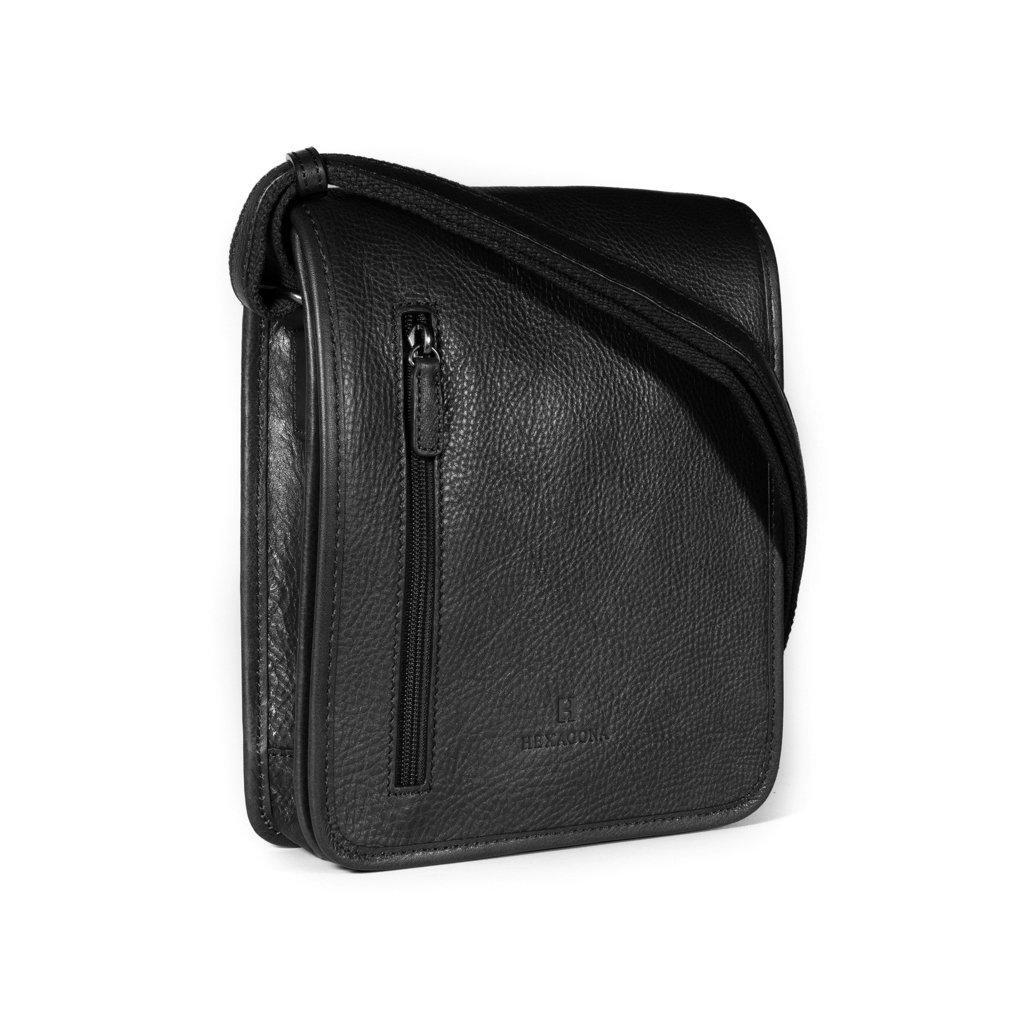 Kožená taška přes rameno Hexagona 129483 černá