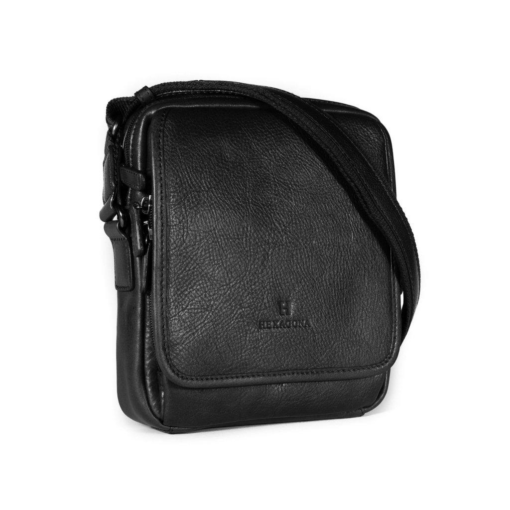 Kožená taška přes rameno Hexagona 129898 černá