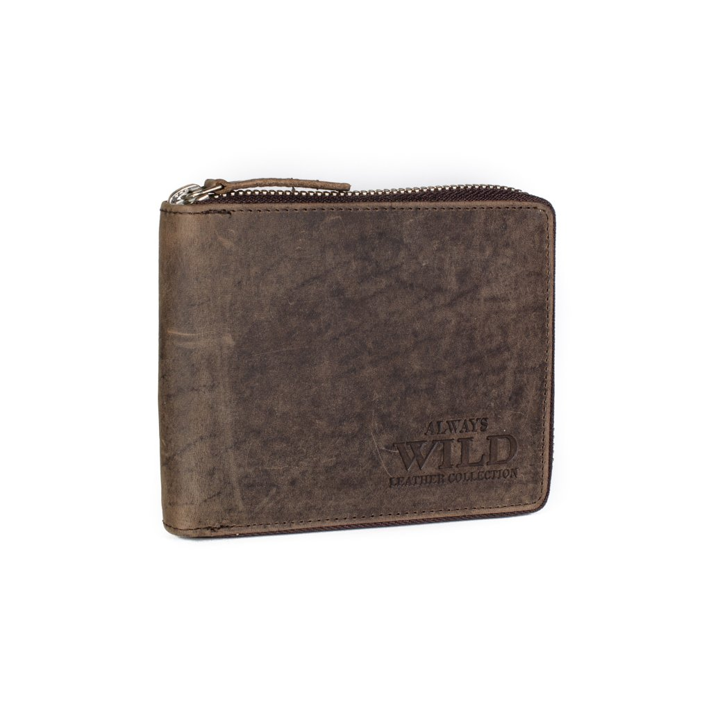 Kožená peněženka na zip Always Wild N992-AZ hnědá