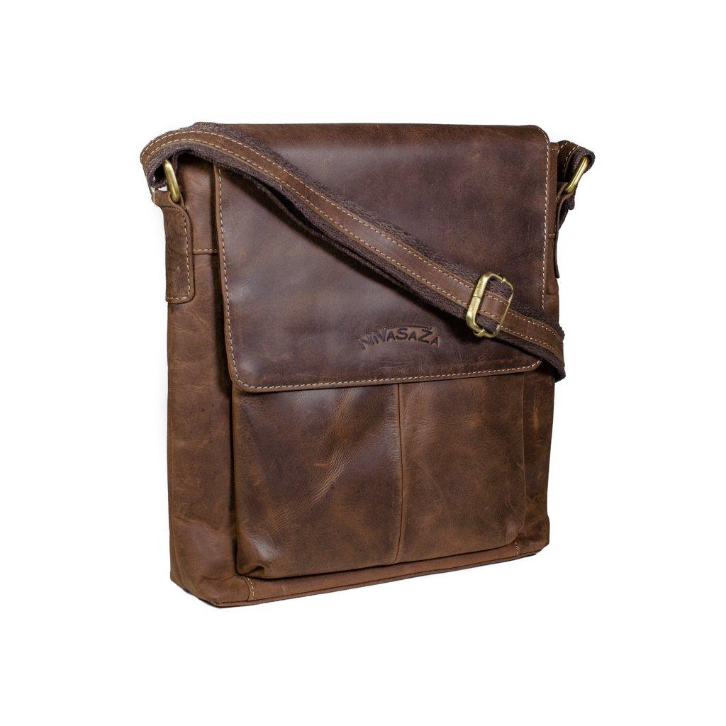 Kožená taška přes rameno Nivasaža N1301-HNT hnědá