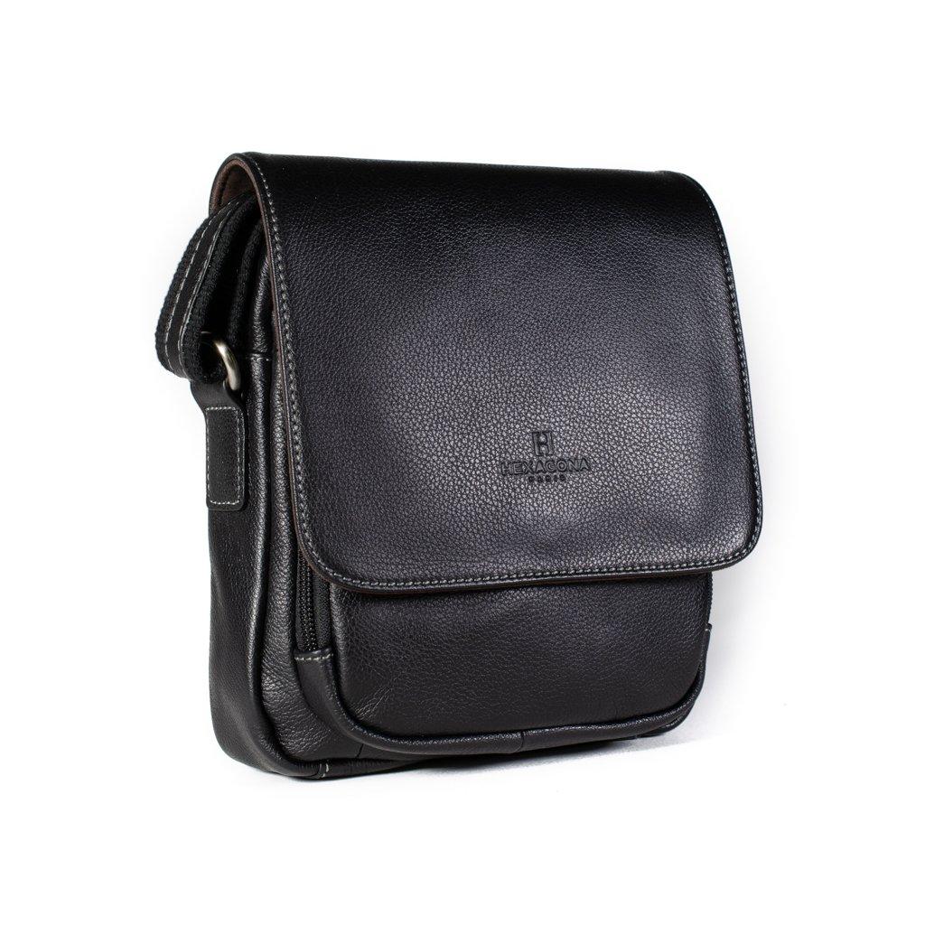 Kožená taška přes rameno Hexagona 463958 černá