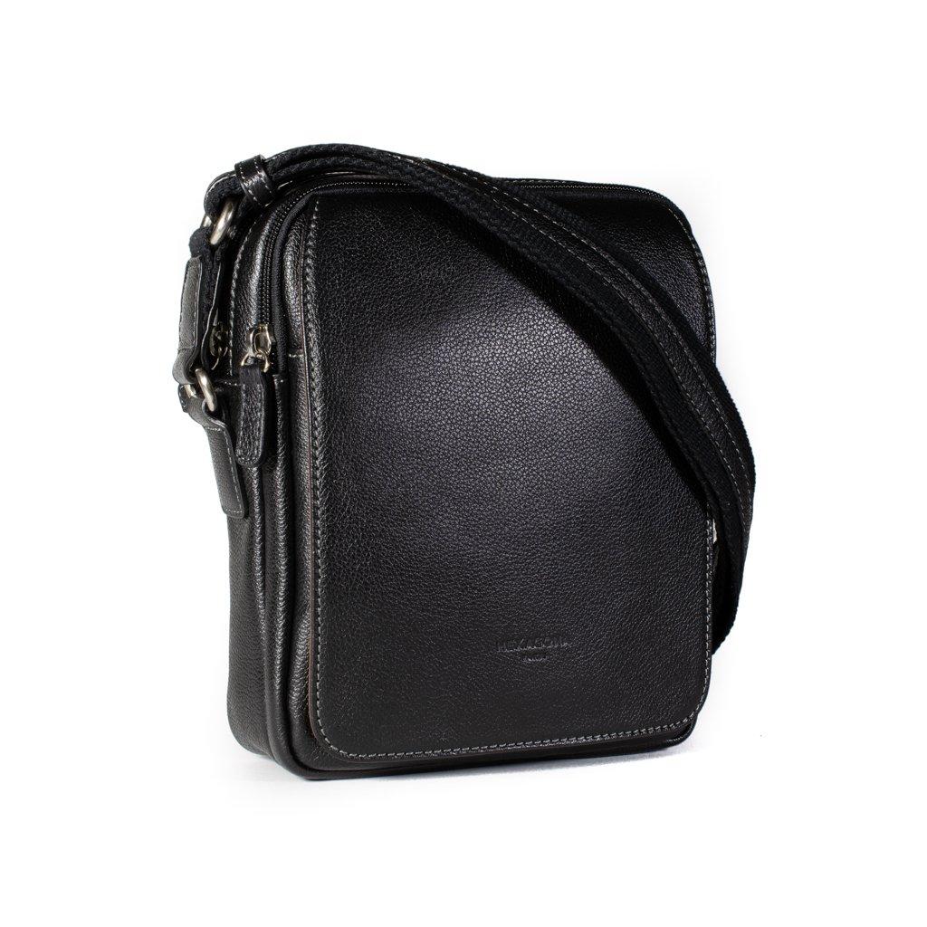 Kožená taška přes rameno Hexagona 463956 černá
