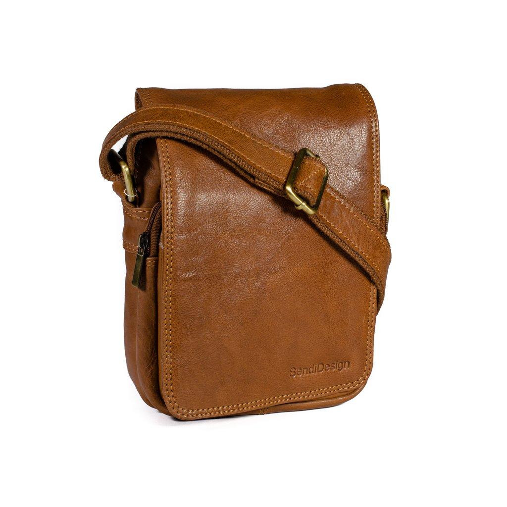 Kožená taška přes rameno SendiDesign M-708 cognac