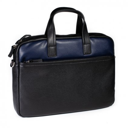 Luxusní kožená taška Hexagona 686291 černo-modrá