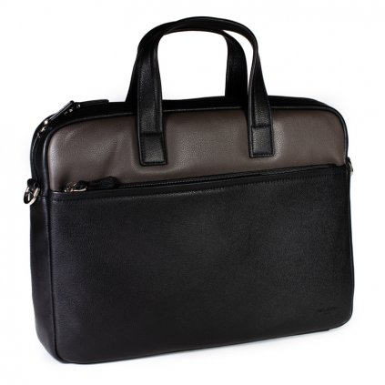 Luxusní kožená taška Hexagona 686291 černo-šedá