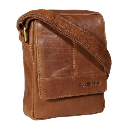 Kožená taška přes rameno SendiDesign M-110 cognac