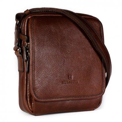 Kožená taška přes rameno Hexagona 129898 koňak