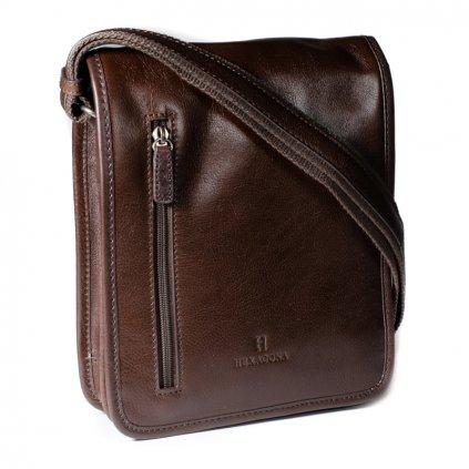 Kožená taška přes rameno Hexagona 129483 hnědá