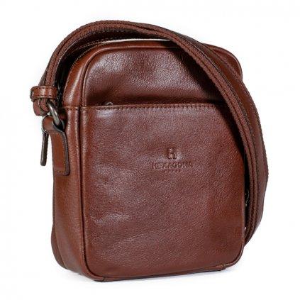Kožená taška přes rameno Hexagona 129477 koňak