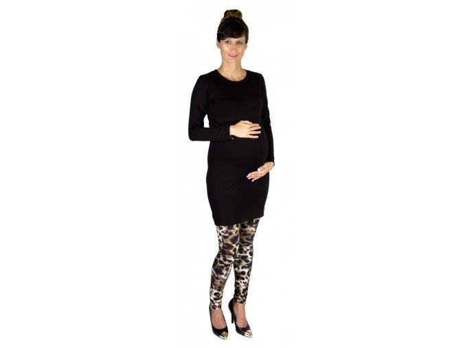 Tehotenské a dojčiace teplákové šaty z modálu Rialto Ladora, čierne