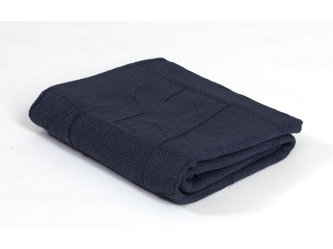 Pletená deka bavlna, Tmavo Modrá, Hviezdy, Rialto Baby