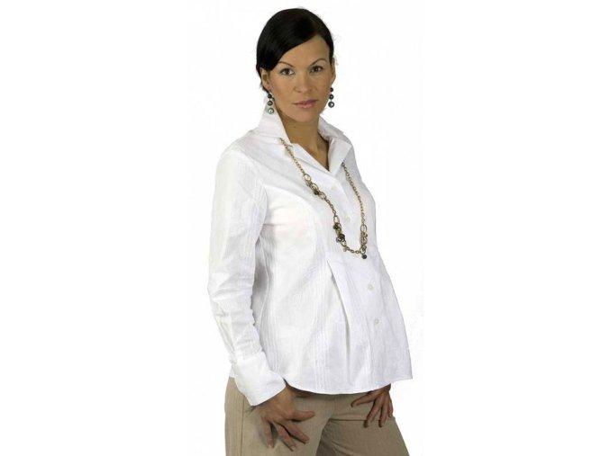 Pohodlná těhotenská halenka s dlouhými rukávy do práce i společnosti.