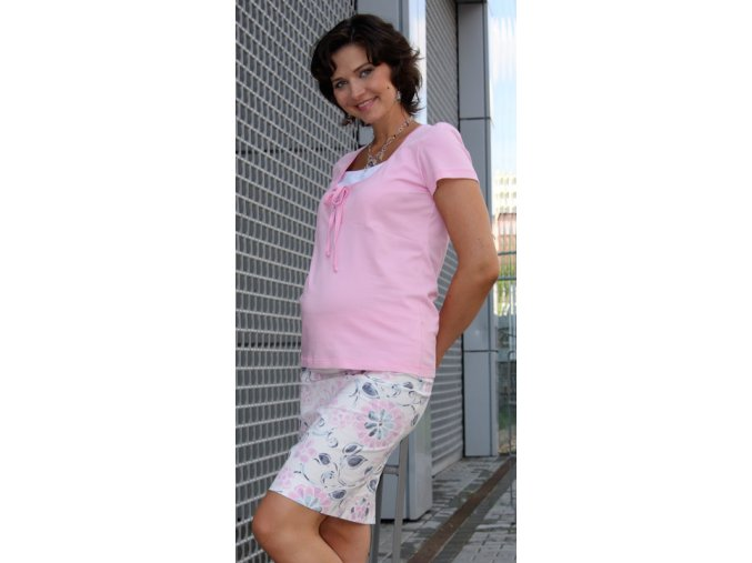 Těhotenská sukně RIALTO BEVER růžové květy 0036 (Dámská velikost 44)
