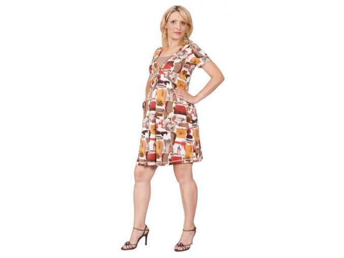 Těhotenské a kojící šaty RIALTO LOYL hnědorezavý potisk 0294 (Dámská velikost 46)