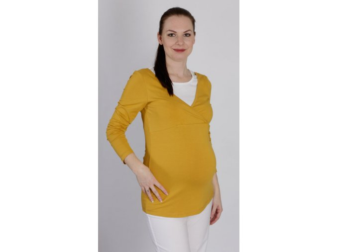 Těhotenské a kojící tričko RIALTO DELFT žluté 0423 (Dámská velikost 46)