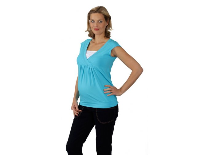 Těhotenské a kojící tričko RIALTO DERY tyrkysově modrá 0459 (Dámská velikost 46)