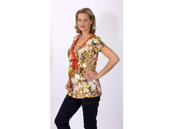 Těhotenské a kojící tričko Rialto Dun oranžové květy 0436 (Dámská velikost 46)