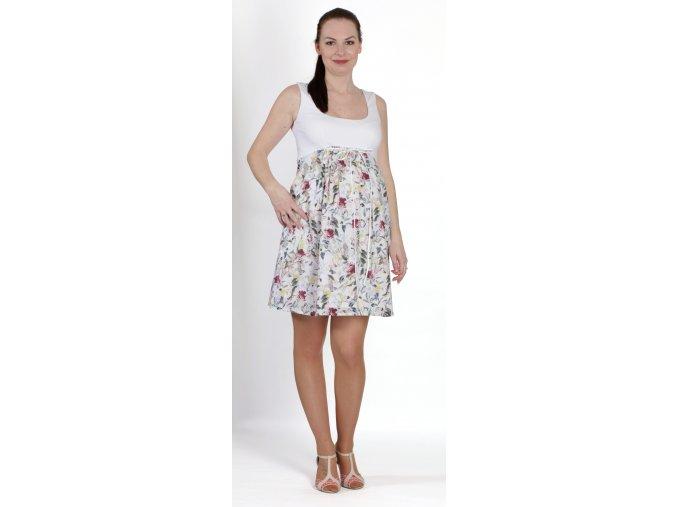 Těhotenské šaty tvořené řivůtkem z elastického vizkozového úpletu a sukně z čisté bavlny